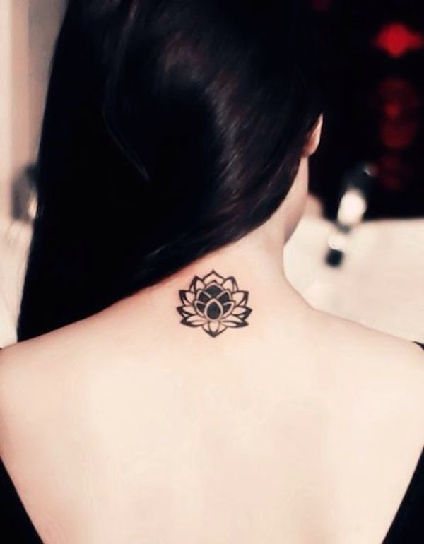 Black Ink Lotus Flower Tattoo On Girl Back Neck