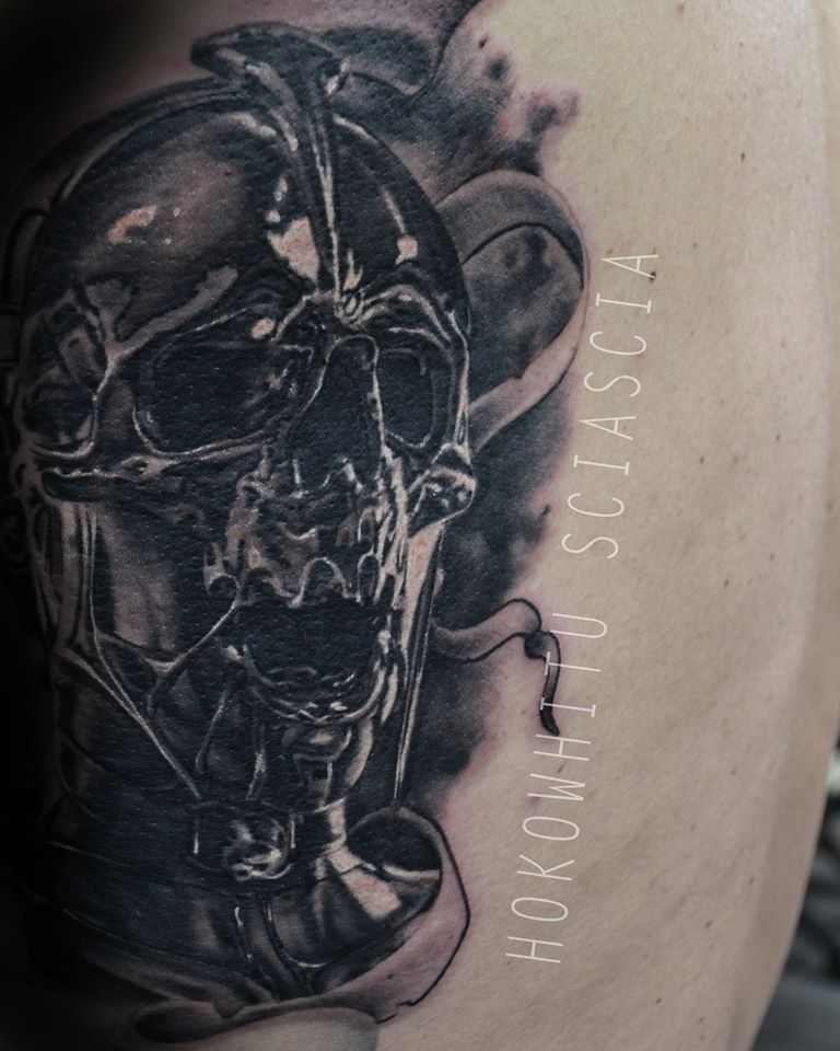 Black Ink Melting Skull Tattoo Design By Hokowhitu Sciascia