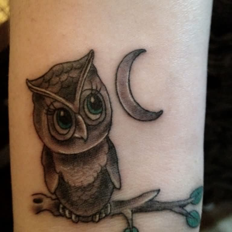 Black Ink Owl On Branch With Half Moon Tattoo Design For Wrist