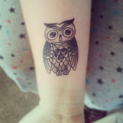 Black Ink Owl Tattoo Design For Wrist
