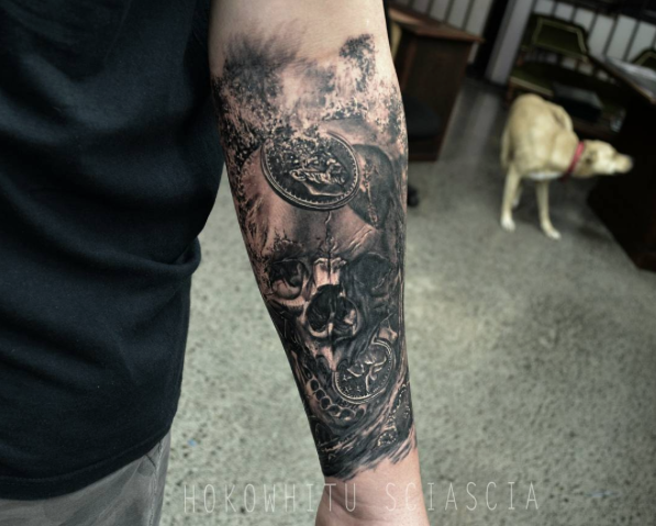Black Ink Skull Tattoo On Man Left Forearm By Hokowhitu Sciascia
