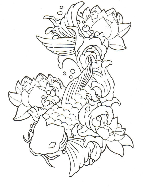 Black Outline Koi Fish With Lotus Flowers Tattoo Stencil