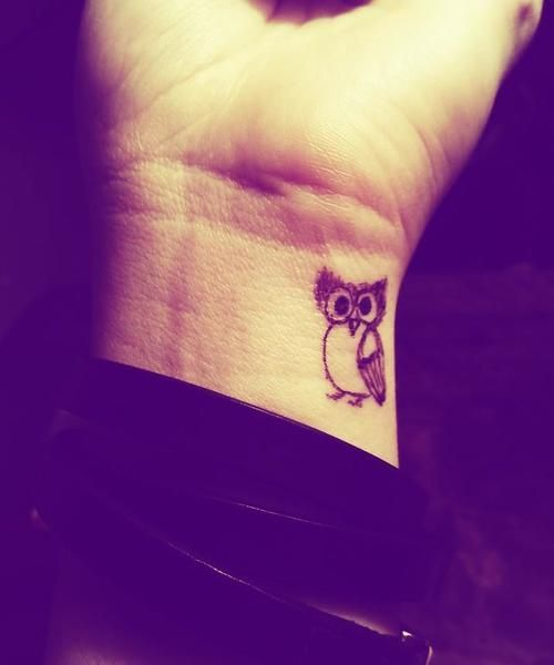 Black Owl Tattoo On Right Wrist By Tamara