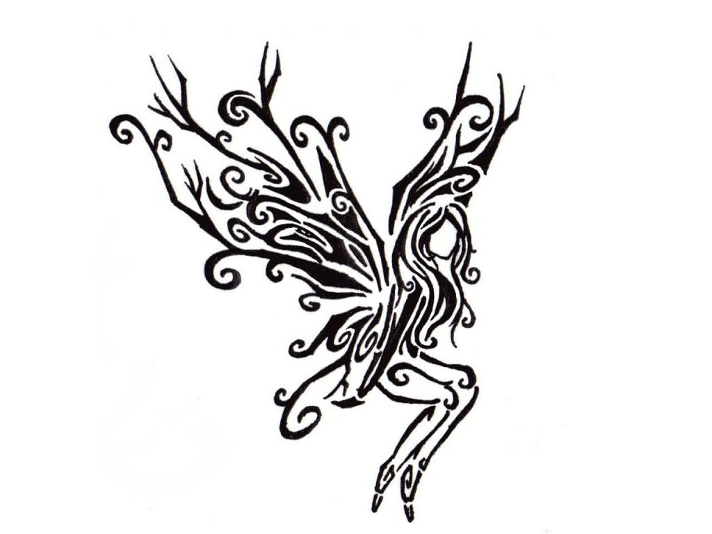 Black Tribal Fairy Tattoo Stencil