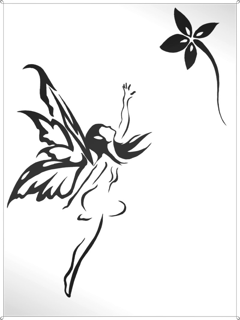 Black Tribal Fairy With Flower Tattoo Stencil By Carldraw