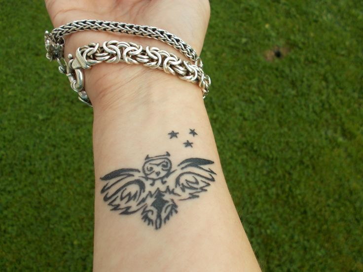Black Tribal Owl Tattoo On Right Wrist