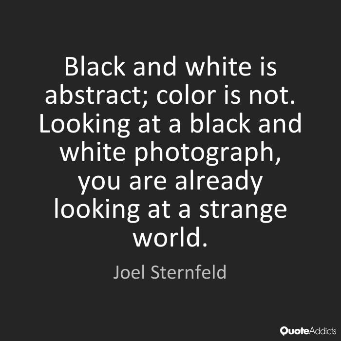 Black and white is abstract; color is not. Looking at a black and white photograph, you are already looking at a strange world. Joel Sternfeld