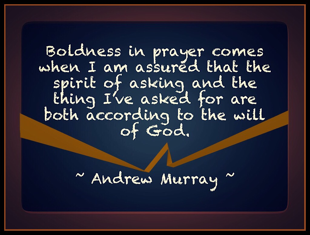 Boldness in prayer comes when I am assured that the spirit of asking and the thing I've asked for are both according to the will of God. Andrew Murray