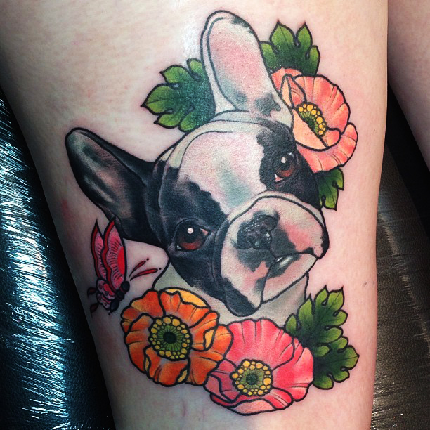Boston Terrier With Flowers Tattoon Design For Thigh By Kitty Dearest