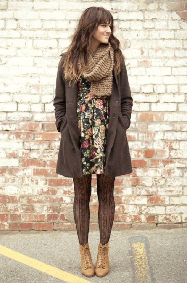 Camel-vintage-boots-black-floral-dress-army-green-vintage-coat-brown-scarf