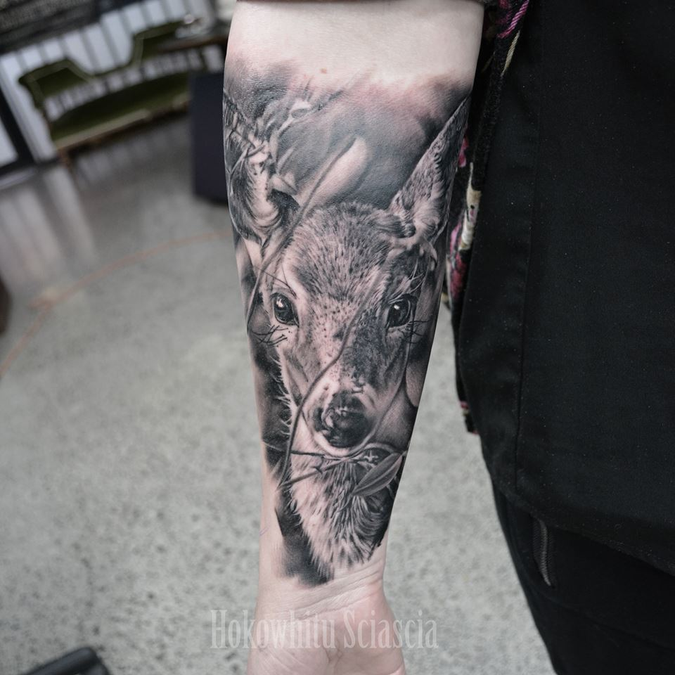 Classic Black And Grey Deer Fawn Tattoo On Left Forearm By Hokowhitu Sciascia