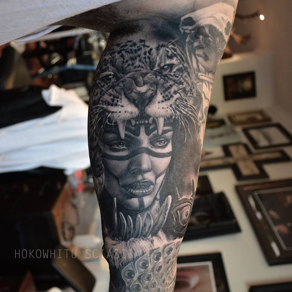 Classic Black And Grey Tiger Head Girl Tattoo On Left Bicep By Hokowhitu Sciascia