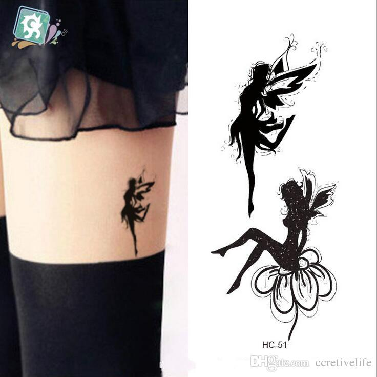 Classic Black Ink Fairy Tattoo Design For Girl Thigh