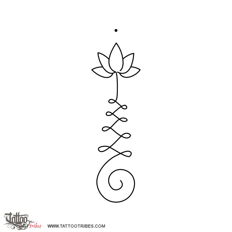 Classic Black Outline Lotus Tattoo Stencil