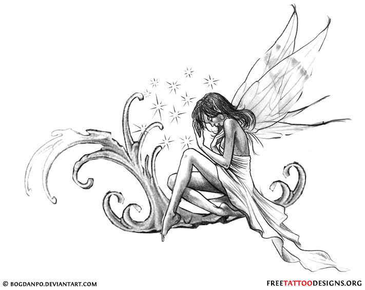 Classic Grey Ink Fairy Tattoo Design