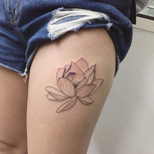 Classic Lotus Flower Tattoo On Left Thigh By Ilwol