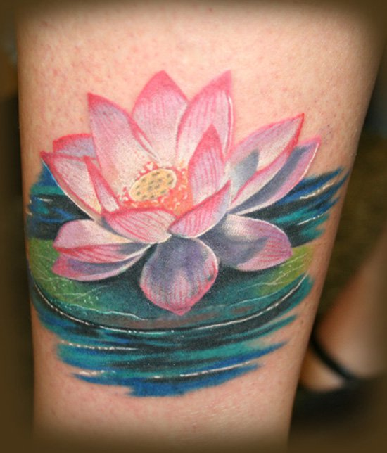 Classic Pink Lotus Flower In Water Tattoo Design For Leg