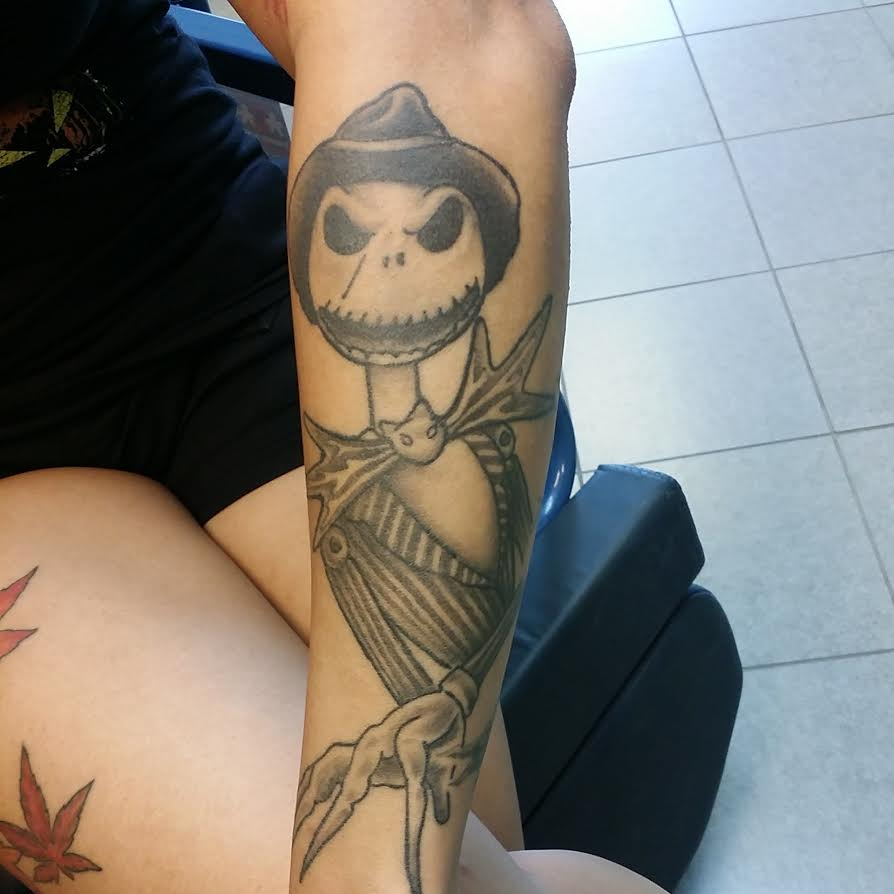 Classic Scarecrow Tattoo On Left Arm By Roger McMahon
