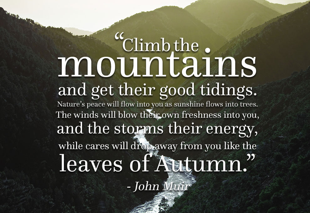 Climb the mountains and get their good tidings. Nature's peace will flow into you as sunshine flows into trees. The winds will blow their ow... - John Muir