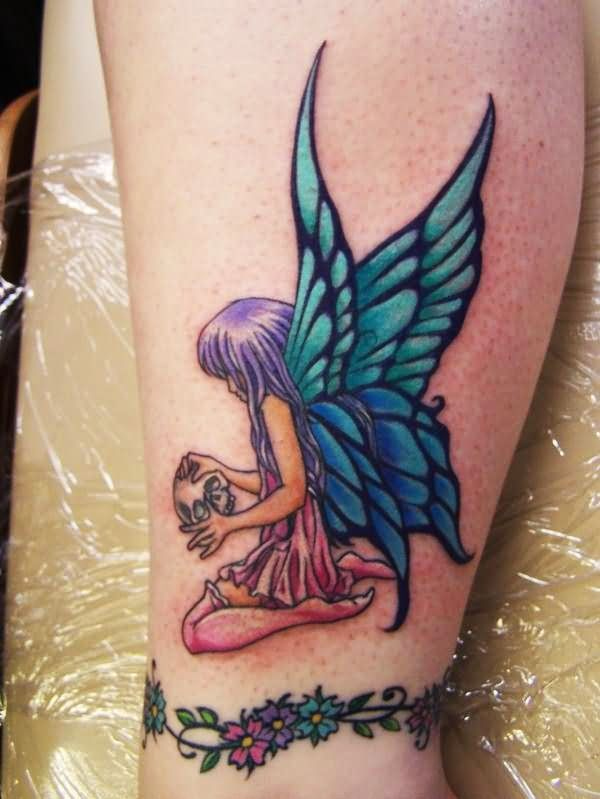 Colorful Fairy With Skull Tattoo Design For Skull