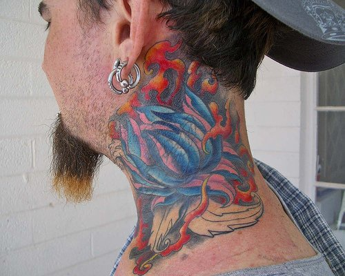 Colorful Lotus Flower Tattoo On Man Side Neck