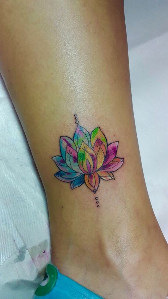 Colorful Lotus Flower Tattoo On Right Leg