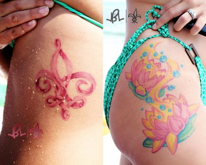 Colorful Lotus Flowers Tattoo On Girl Right Hip