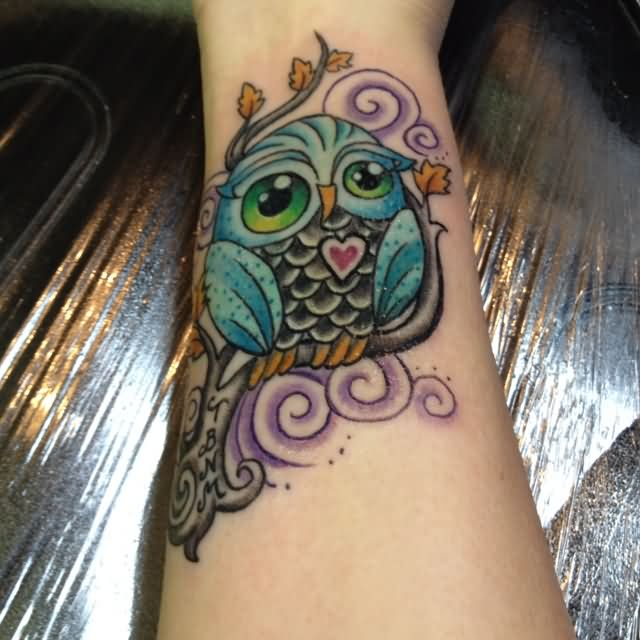 Colorful Owl Tattoo Design For Wrist