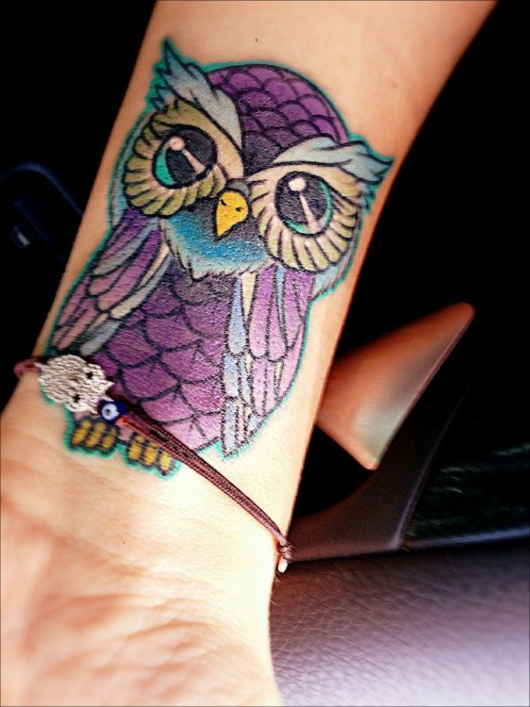 Colorful Owl Tattoo On Wrist