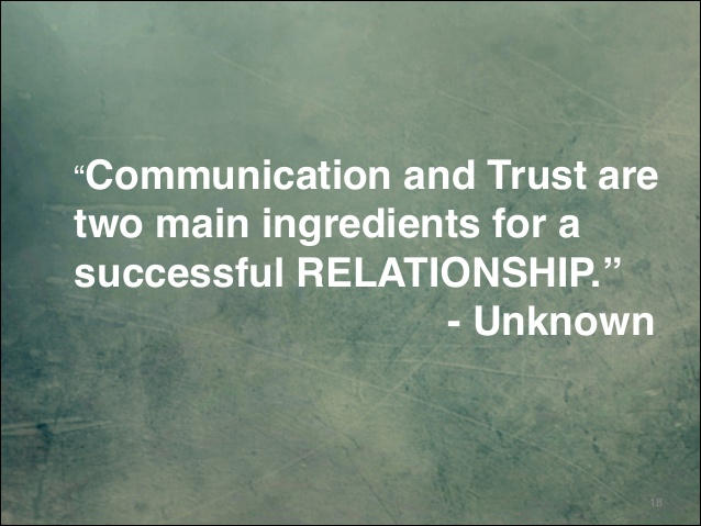 Communication and trust are two main ingredients for a successful relationship