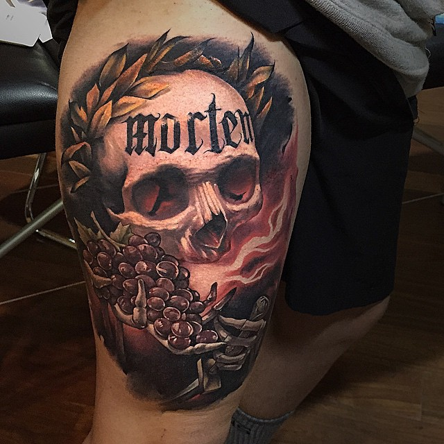Cool 3D Skull Tattoo On Right Thigh By Benjamin Laukis