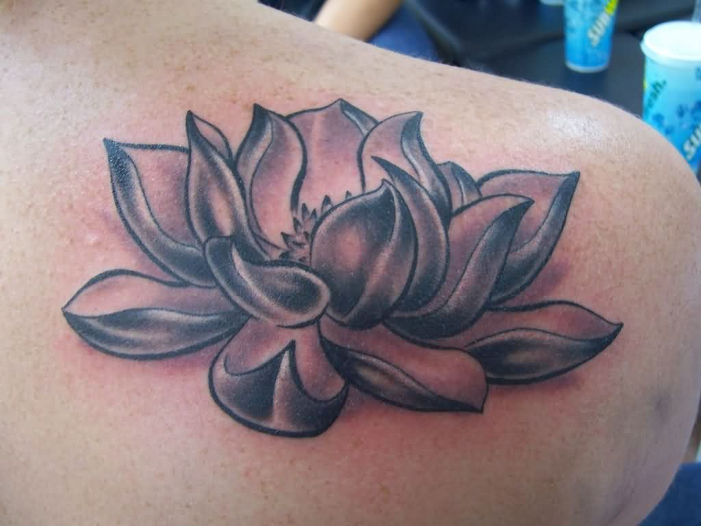 Cool Black And Grey Lotus Flower Tattoo On Right Back Shoulder