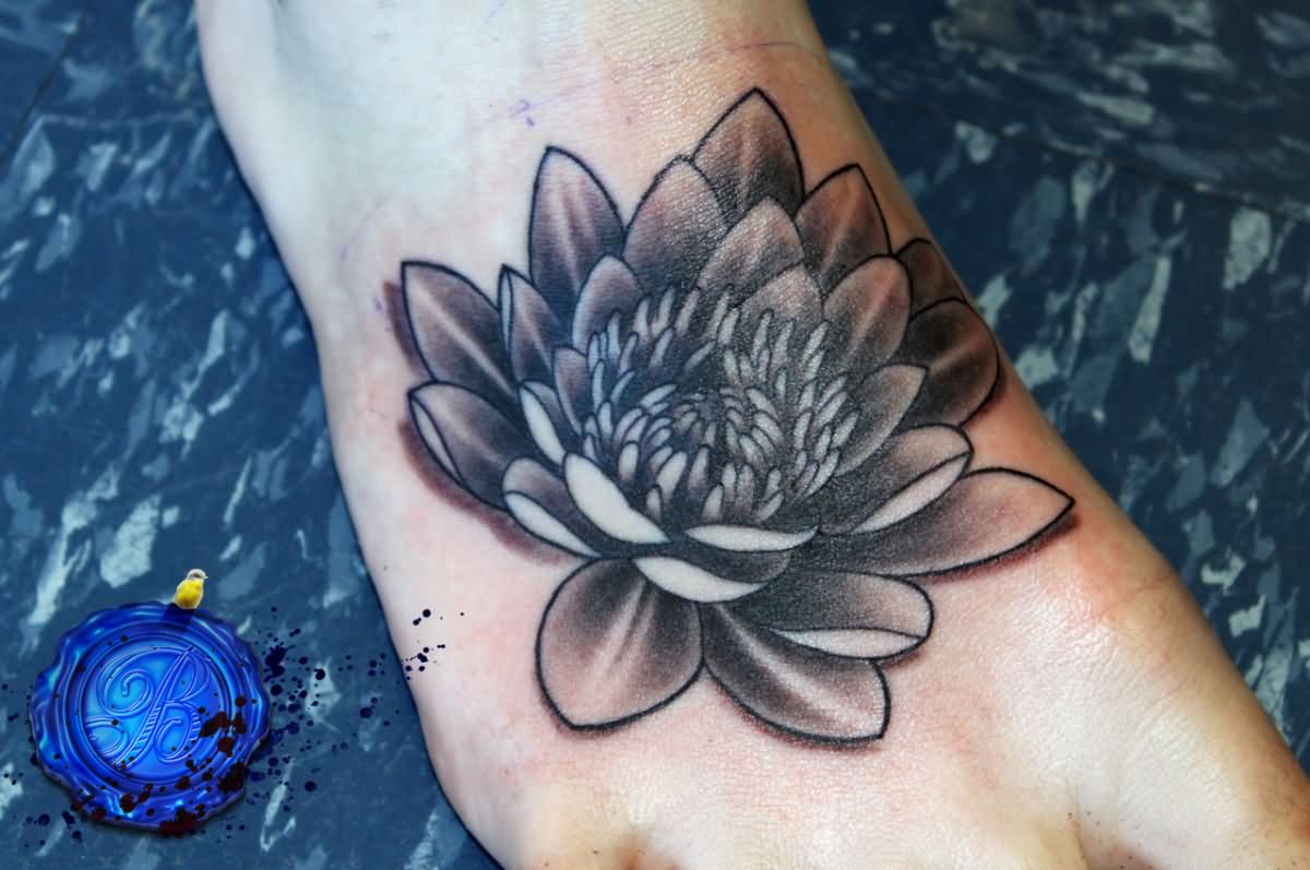 Cool Black And Grey Lotus Flower Tattoo On Right Foot
