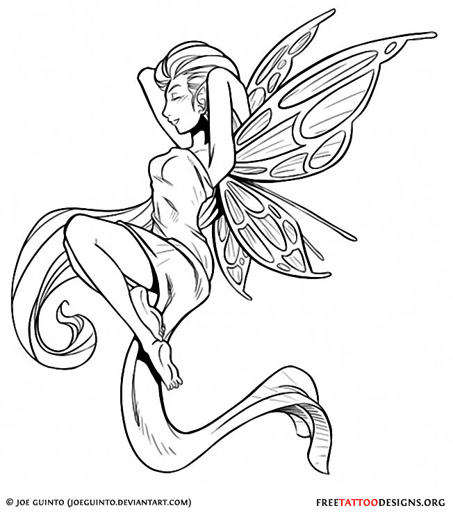 Cool Black Outline Fairy Tattoo Stencil
