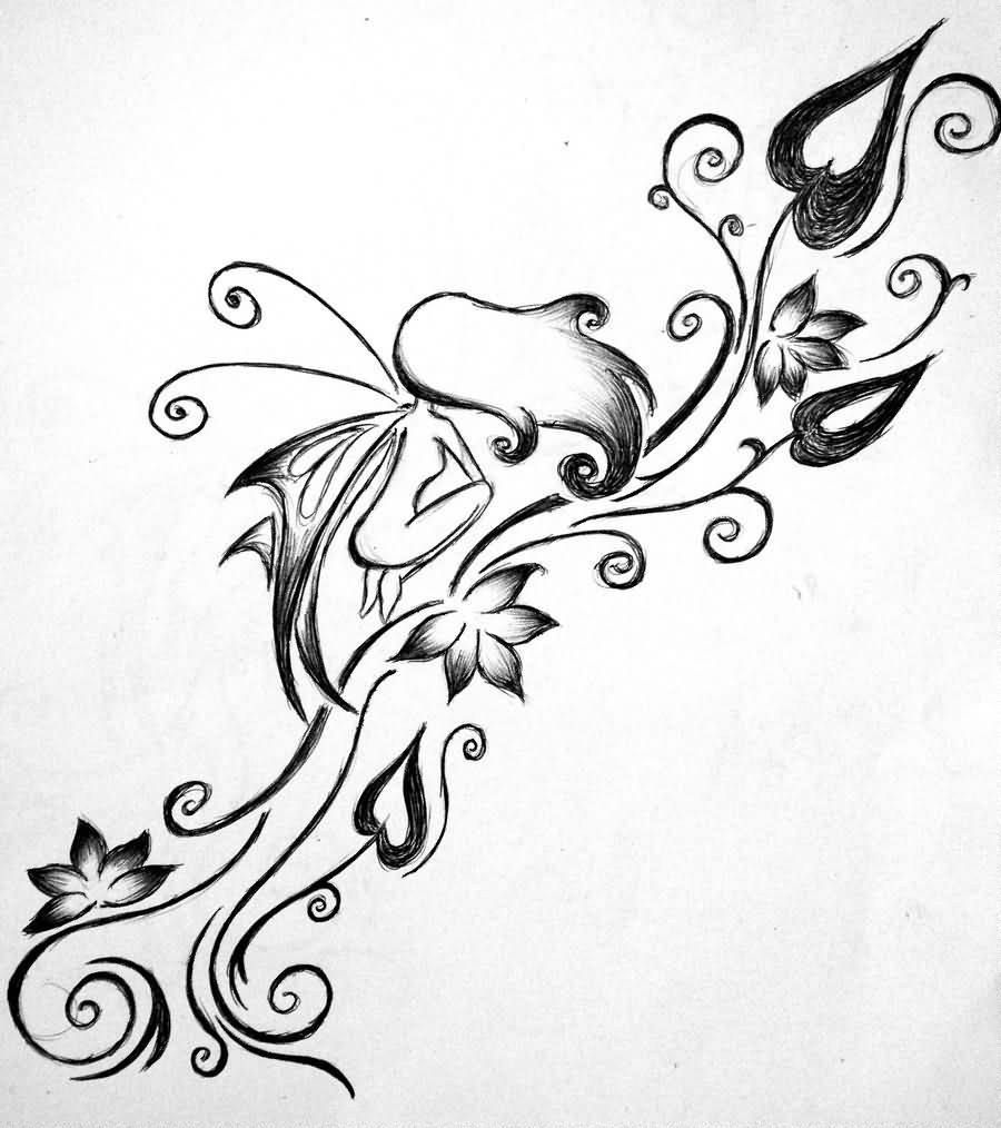 Cool Black Outline Fairy With Flowers Tattoo Design