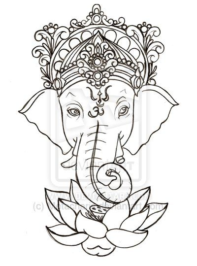 Cool Black Outline Ganesha With Lotus Flower Tattoo Stencil