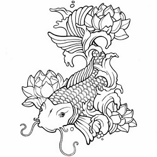 Cool Black Outline Koi Fish With Lotus Flowers Tattoo Stencil