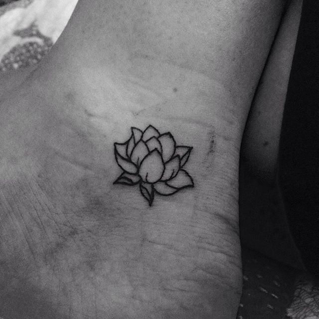 Cool Black Outline Lotus Flower Tattoo On Left Ankle