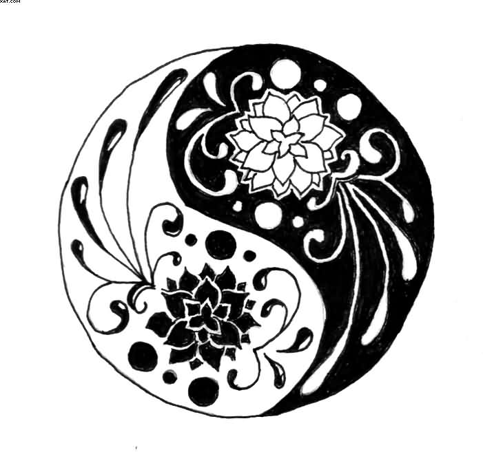 Cool Black Outline Lotus Flowers In Yin Yang Tattoo Stencil