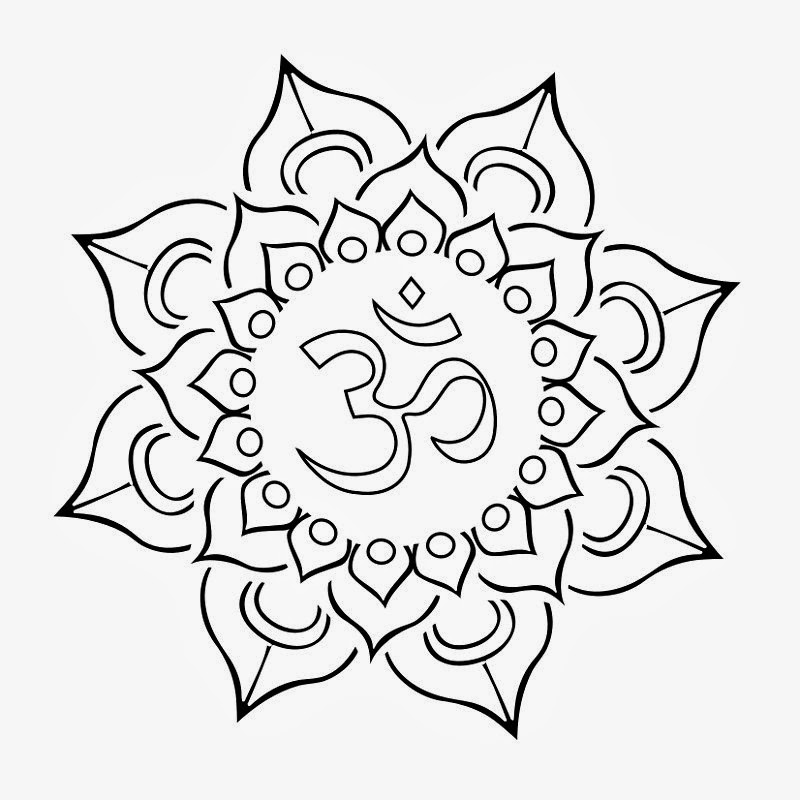 Cool Black Outline Om In Lotus Flower Tattoo Stencil