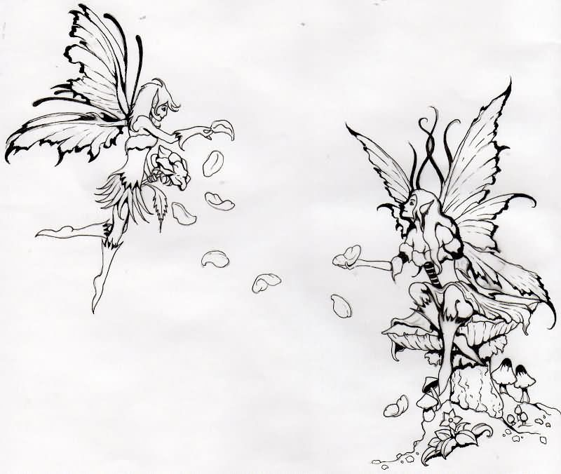 Cool Black Outline Two Fairies Tattoo Design
