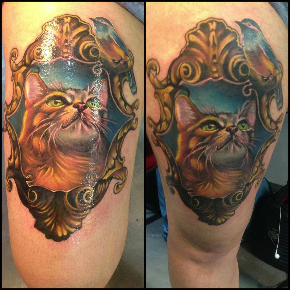 Cool Cat In Frame Tattoo On Right Thigh By Fabz