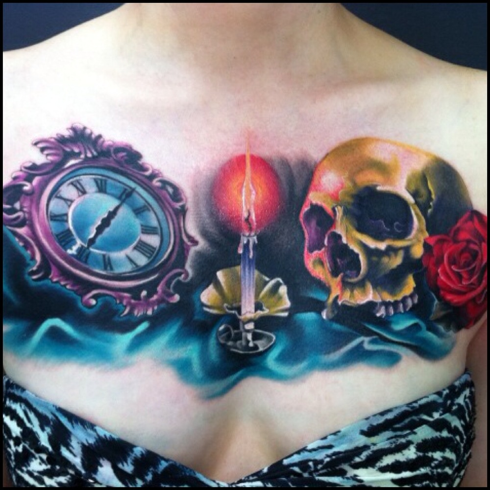Cool Clock With Burning Candle And Skull Tattoo On Girl Collarbone By Fabz