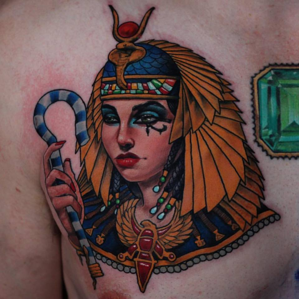 Cool Egyptian Girl Tattoo On Man Right Front Shoulder By Crispy Lennox