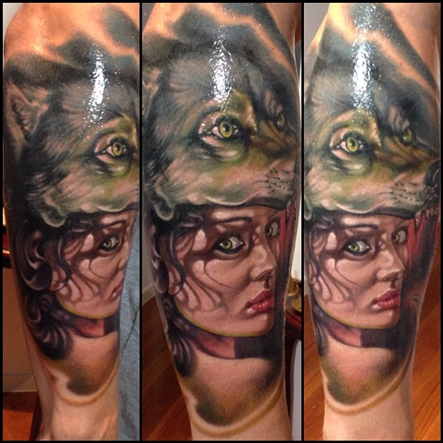 Cool Fox Head Girl Face Tattoo On Right Arm By Fabz