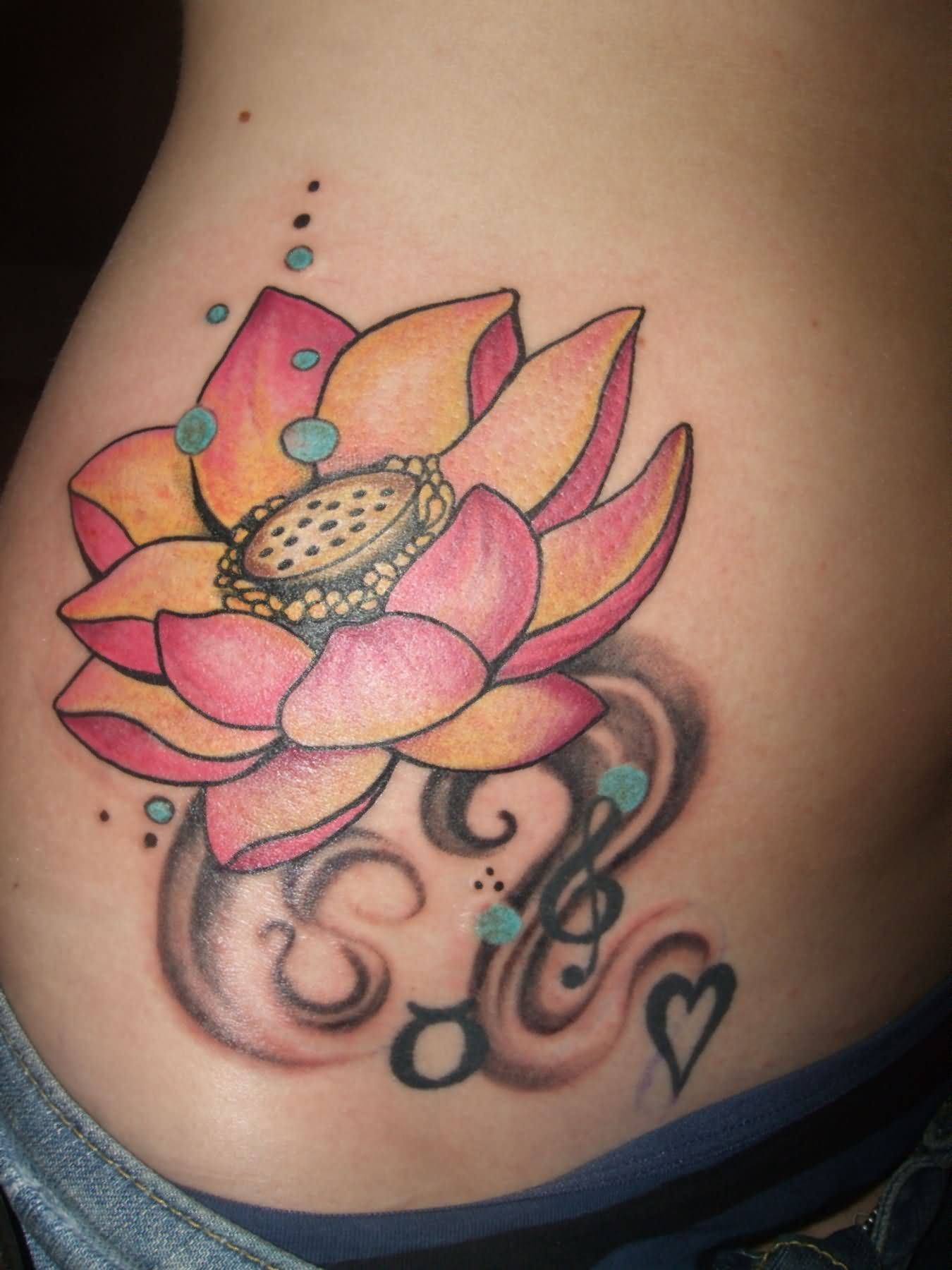 Cool Lotus Flower In Water Tattoo On Hip