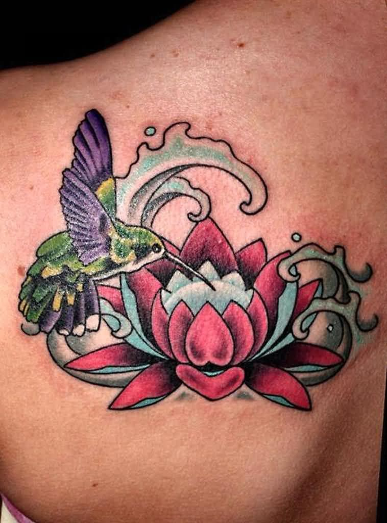 Cool Lotus Flower In Water With Flying Bird Tattoo On Left Back Shoulder