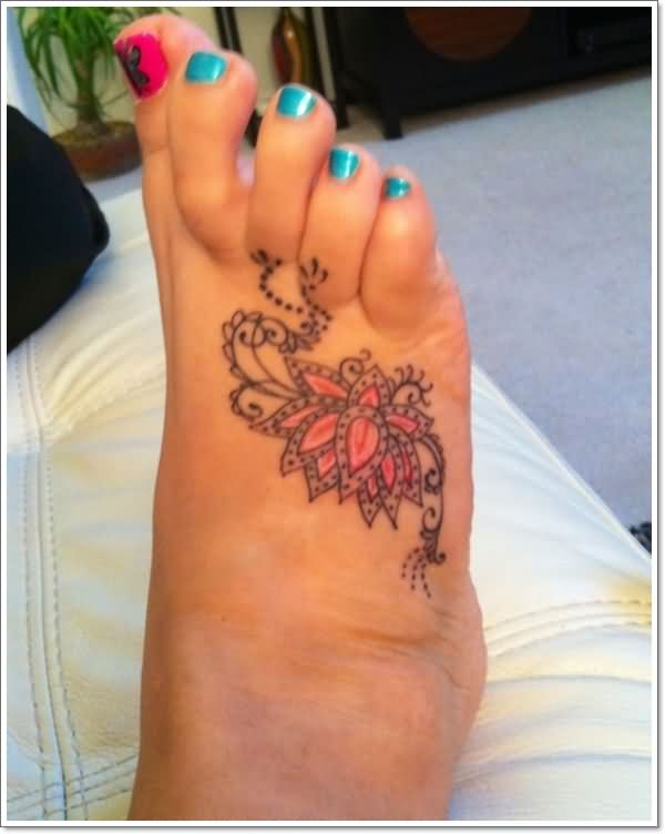 Cool Lotus Flower Tattoo On Girl Right Foot