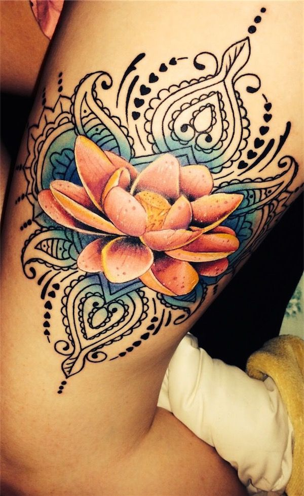 Cool Lotus Flower Tattoo On Left Thigh