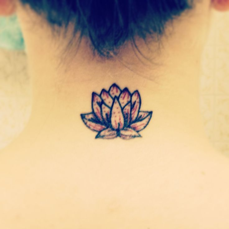 Cool Lotus Flower Tattoo On Man Back Neck